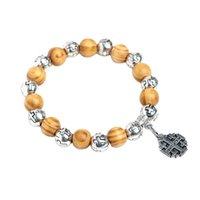 Braccialetto naturale Bracciale Bracciale Virgin Gesù Christian Cross Bracelet Bracciale Brancia perline Bracciale gioielli