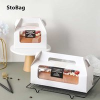 StoBag 10pcs Handle Cake Packing Boxes Towel Roll Swiss Roll Birthday Party Farvor Handmake Gift With Transparent Window 210602
