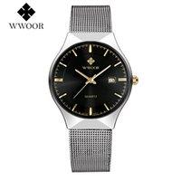 Relogio masculino wwoor top mode marke uhren männer wasserdichte rostfreie mesh quarz armbanduhr mann silber date clock für männliche armbandwatche