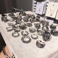 20 pçs / lote vintage punk antique cor prata banda de metal crânio anéis de cobra para homens mulheres misturar presentes de festa de festa ajustável jóias de abertura ajustável lotes