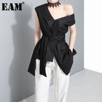 [EAM] Kadın Düzensiz Yay Bandaj Eklenmiş Siyah Bluz V Yaka Kolsuz Gevşek Fit Gömlek Moda İlkbahar Yaz 2021 1DD5126 Kadın Bluzlar