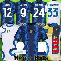 2021 2022 Lukaku Lautaro 네 번째 축구 유니폼 Barella 밀라노 드 VRIJ Vidal 20 22 축구 셔츠 하키미 Gagliardini 남자 아이들 인터내셔널 탑 세트 유니폼 탑스