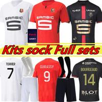 Rennes 21/22 Stade Rennais Soccer Technys 2021 2022 Doku Terrier Bourigeaud Guirassy Camavinga 120-е футбольные рубашки для футбольных рубашек + Kits Kits Sock Full Sets