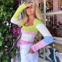 Women Knits Sweaters Casual Knit Dress Contrast Color Long Sleeve Autumn Fashion Wear Classic Letter Pattern Lady Tops Knitwear Ladies Sweater