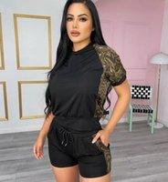 Fashion designer cross border women's short sleeve top and shorts set in stock