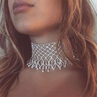 Net Yarn Water Droplets Necklace Sexy Tassel Shiny Rhinestone Bridal Wedding Ladies Jewelry Body Chain Accessories Gift Chokers