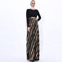Ethnic Clothing Muslim Malaysia Ramadan Party Evening Dress Women's Stamping Pleated Long Skirt Islamic Africa Turkey Belt Elegant