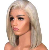 블랙 웨이브 곱슬 가발 금발 짧은 스트레이트 헤드 헤이어 시뮬레이션 인간의 머리 가발 Pre Plucked 금발 합성 레이스 프론트 밥 머리카락 제품 J25