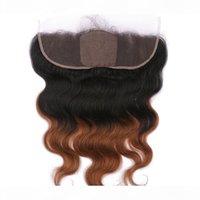 Virgin Brésilien Medium Auburn Ombre Human Hair Silk Base 13x4 Dentelle Fermeture Frontale Fermeture Corps 1B 30 Ton Ton ombre Silk Haut Frontal