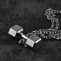 Sports dumbbell Necklace men's European and American hip hop clavicle chain personality men fitness Street versatile
