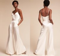 Summer Holiday Wedding Dresses Jumpsuit with Pockets Spaghetti Neck Dramatic Beach Wedding Ceremony Dress pant suit