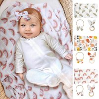 Blankets & Swaddling 3 Pcs Born Swaddle Wrap+Headband+Teether Set Baby Receiving Blanket Hair Band Ear Wooden Ring Soother Kit