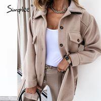 Женские куртки простые офисные отвороты куртка женская осень осень зима повседневная длинная рукава женское верхнее пальто черная белая мода деловая рубашка