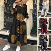 Autumn Muslim Printed Maxi Dress Women Abaya Islamic Clothing Casual Long Sleeve Shirt Vestidos Female Button Robe Plus Size