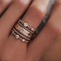 5pcs lot Punk Style Rose Gold Stackable Ring Midi Finger Knuckle s Sparkly Boho Crystal Band Set for Women Jewelry Gift