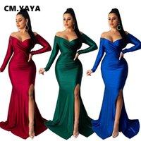 CM.YAYA Autumn Winter Women Off Shoulder Plunging V-neck High Side Split Mermaid Maxi Dress Sexy Night Party Club Long Dresses 210915
