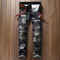 Мода Бренд Оригинальный дизайн Мужские джинсы Slim Fit Rivet Письмо Biker Jeans Hi-Street Balman Style Cowboy брюки 550-4 #