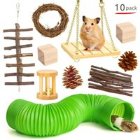 Small Animal Supplies 10pcs set Hamster Toy Assembled Wooden Toys Sets Grass Molar String Wood For Bite