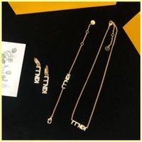 Kadınlar Takı Setleri Lüks Tasarımcı Bilezik Altın Kolye Hoop Küpe Markaları F Bayan Zincir Bağlantı Moda Düğün Parti Süsler 21101502R