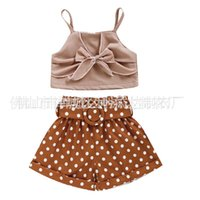 Toddler Baby Girl Clothes sets Summer Solid Color Strap Bowknot Crop Tops Polka Dot Short Pants 2Pcs Outfits 1-6Y 1439 Y2