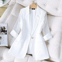 Women's Suits & Blazers White Suit Jacket Female 2021 Autumn Korean Fashion Slim Women Solid Color Casual Half Sleeve Summer Thin Aq1049