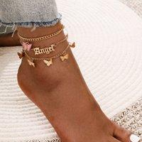 Einfache und süße Acryl Engel Anhänger Füße Blume Schmetterling Quaste Anklet 3-teiliges Set