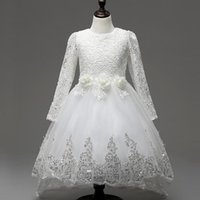 Girl's Dresses Design 2021 Kids Clothes Baby Girl White Dress Wedding Party For Children Flower Long Sleeve Lace Gown