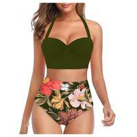 Swimwear Woman Sexy Bikini 2021 Floral Printed High Waist Bikinis Set Two Piece Suit Halter Tankini Bathing LL3 Women's