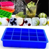 Silicone Ice Cube Tray Molds Kitchen Tools Frozen Block Mold Cake Mould Chocolate Moulds 15 Cavity Square Baking Pan Muffin GWB7917