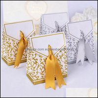 Wrap Festive Home & Garden 10Pcs Creative Golden Sier Ribbon Wedding Favours Paper Box Cookie Candy Gift Bags Event Party Supplies Drop Deli