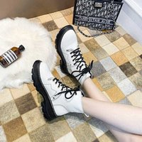 Top Quality LazySeal Chunky Sole White Ankle Boots For Women Shoes Martens Female Lace Up Shoes Women's Boot Ladies Footwear