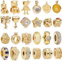 Lossa pärla 925 sterling silverpläterad guldkrona legeringsbrev o pärlor passar pandora 3mm armband diy diamant hängsmycke charm smycken