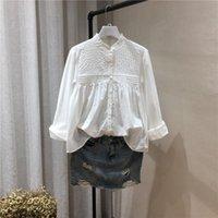Lamtrip Boutique Ruffled Collar Cor Sólida Manga Longa Algodão Camisa Blusa 2021 Outono Mulheres Blusas Camisas