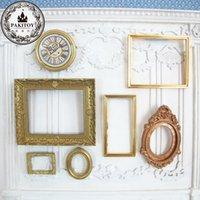 1:12 Scale Photo Frames Retro Mirror for Dollhouse Decor DIY Vintage Ornament Furniture European Style Doll House Accessories 1376 Y2