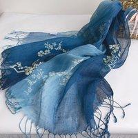 Sommedr Batik Linnen Sjaal Guizhou Tourist Area Gift Custom Ethnic Style Sjaal Dames Retro Tassel Sjaal