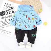 Clothing Sets Korean Fashion Baby Kids Set Cartoon Graffiti Hooded Sweatshirt&pants Two Pieces Cute Toddler Boys Outfits Clothes