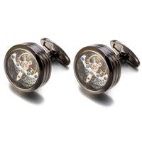 Alta Qualidade Movimento Tourbillon Cufflinks para Mens Noivo de Casamento Mecânico Relógio Steampunk Engrenagem Abotoaduras Relojes Gemelos CJ191116 104 Q2 Q2