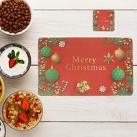 Mats & Pads 12Pcs Cup Snowflake Christmas Letters Pattern Placemats Water Oil Proof Coasters Ornaments Year Decor