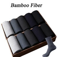 Men's Socks High Quality Men Bamboo 10 Pairs Business Solid Color Dress Cotton Casual Compression Crew EU38-43 For Gifts