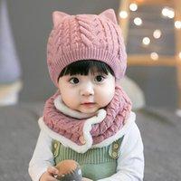 Caps & Hats 2Pcs Baby Hat Scarf Set Warm Knitted Winter Cap Bonnet Kids Boy Girl Boys Girls Crochet Beanie Autumn