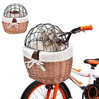 Haustier liefert gewebtes Fahrradkorb Front Lenker Wicker Fahrrad klein für Träger Erwachsene Jungen Mädchen Katzenbeutel Welpen-Träger, Kisten Häuser