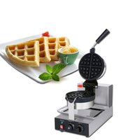 Fabricantes de pan Fabricante de gofres eléctricos comerciales Clásico giratorio sin palmado Waffle Belga Máquina Mini olla 220V Acero inoxidable