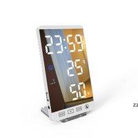 6 بوصة الصمام مرآة المنبه لمس زر اللمس الجدار الساعة الرقمية الوقت الرطوبة درجة الحرارة عرض USB الناتج ميناء الجدول ساعة HWA6227
