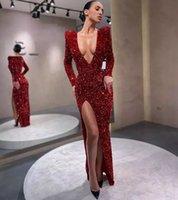 Burgundy Sequined Side Split Mermaid Evening Dresses Long Sleeves Deep V Neck Floor Length Formal Prom Gowns