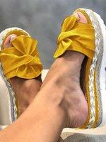 Sandals Women's Casual Bow Wedge Platform Summer Beach Slippers Ladies Slipper Street Wear Bow-knot