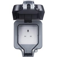 Smart Power Plugs Single Waterproof Unswitched Socket, Rainstorm-Proof And Splash-Proof Outdoor Outlet Box, IP66 Rating,13A UK Plug