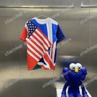 2021 Designer USA Flagge Druck Herren Womens T-shirts Feuerwehrmann Maschine Katze Mann Paris T-Shirt Tees Street Kurzarm Luxurys Tshirts Rot Schwarz