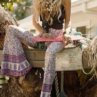 Donne Boho Hippie a vita alta a vita alta ampia gamba a campana flarmed bottom lungo pantaloni flroal