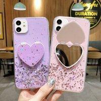 Caso de telefone de suporte quadrado de metal galvanoplastiado de luxo para coque iphone 11 12 pro x xr xs max 7 8 plus caso moda sexy macio capa funda amor espelho