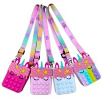 Fidget Sensory Bubble Bretelle Shoulder Bag Cellphone Straps Finger Push Phone Pouch Case Change Coin Purse Decompression Unicorn Popping Toys for Girls Kids 411w3